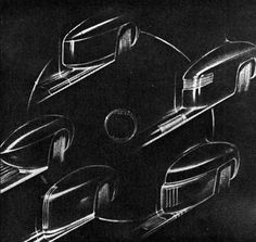 Roy Brown, later to head Edsel studio, did fender studies as a young designer.
