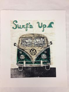 amazing fabulous VW Van Surf's Up Linocut Reduction Woodcut by WoodcutLinocutPrints, $45.00. BUY IMMEDIATELY. By the world renowned Jeremy Kirchhoff