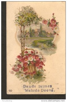 a179. EAS Name NAMING DAY embossed antique postcard flowers nature landscape illustration - 1900-1910
