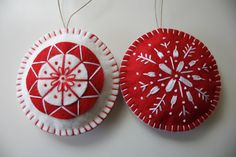 * Set of 2 Scandanavian inspired Felt ornaments made using Wool blend felt  * Completely hand sewn.  * lightly filled with Poly-fil  * Size 9.5 cm in