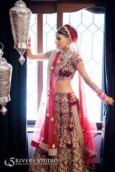 deep red lengha with gold work #classic for the bride | courtesy Five Rivers Studio Photography | www.shaadibelles.com