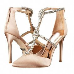 53ef892baf08 Elegant Champagne Prom Womens Shoes 2018 Crystal Rhinestone T-Strap 8 cm  Stiletto Heels Pointed Toe Pumps