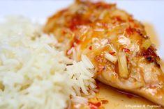 Poulet à la citronnelle sauce pimentée et riz