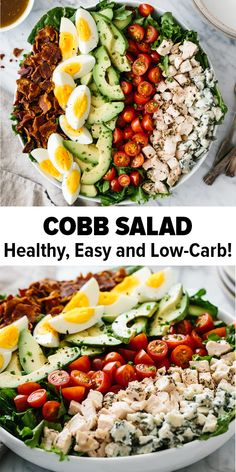 Cobb salad is a classic American salad with chicken bacon hard boiled eggs tomatoes avocado lettuce and blue cheese. Im such a fan of this salad as its easy wholesome healthy and filling. It's also paleo keto low carb and friendly. Salad Recipes Healthy Lunch, Chicken Salad Recipes, Easy Salads, Easy Healthy Recipes, Diet Recipes, Healthy Eating, Healthy Tuna, Tuna Recipes, Dinner Salad Recipes