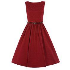 Audrey Red Brocade Swing Dress | Vintage Style Dresses - Lindy Bop
