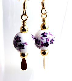 bead earrings porcelain purple sakura blossoms by WakeUpTheAngel, $19.00