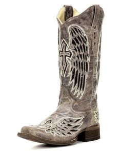 Corral   Women's Wing and Cross Sequins Square Toe Boot - Brown   Country Outfitter