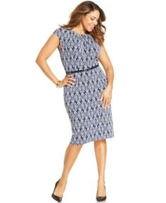 Charter Club Plus Size Printed Belted Sheath Dress
