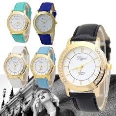 Women-Leather-Band-Crystal-Rhinestone-Diamond-Round-Dial-Quartz-Wrist-Watch Diamond Quartz, Crystal Rhinestone, Gold Watch, Pu Leather, Fashion Women, Clock, Watches, Band, Crystals