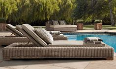 Rooms   Restoration Hardware  I want a pool just so that I can have these lounge chairs!