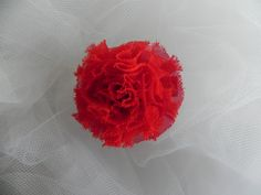 Red Chifon Flower Hair Clip with bottle cap center, Hair Accessories, Girls, Toddlers, Babies, Team Apparel, Christmas, Holiday Photo, Small by CottonCandyBows on Etsy