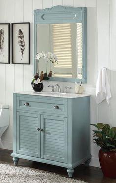 """34"""" Cottage look Light Blue Glennville Bathroom Sink Vanity & mirror Model CF-28668BU-MIR"""