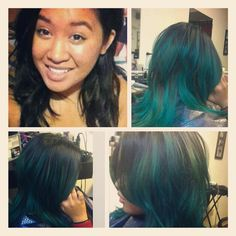 Before and after teal ombre by Nicole Templeton