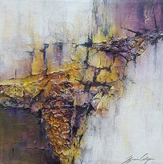 """A Kiss of Sunlight-Abstract Landscape by Gerri Calpin Acrylic ~ 12"""" x 12"""""""