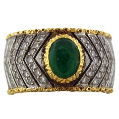 M. BUCCELLATI Gold Diamond Emerald Cabochon Ring | From a unique collection of vintage band rings at http://www.1stdibs.com/jewelry/rings/band-rings/