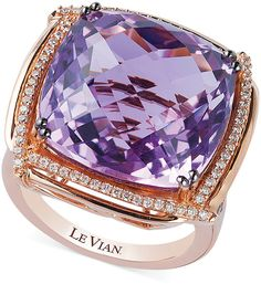 Le Vian Lavender Quartz (21-1/4 ct. t.w.) and Diamond (5/8 ct. t.w.) by LeVian at Macy's. PRICE WAS: $5,400.00 NOW ON SALE: $2,915.10 Ring in 14k Rose GoldTurn up the glamour. Le Vian's cushion-cut lavendar quartz (21-1/4 ct. t.w.) ring adds an regal pop of color while round-cut chocolate diamonds (1/3 ct. t.w.) and white diamonds (1/4 ct. t.w.) make for a sparkling finish. Crafted in 14k rose gold. Size 7. Almost all gemstones and blue and black diamonds have been treated.