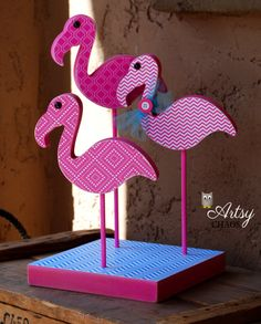 Pink Flamingos!! FINISHED Wood FLAMINGO TRIO Summer Kitsch Pop