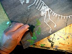 that artist woman: Glue Resist Dinosaur