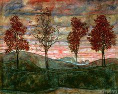 Egon Schiele - Vier Baeume