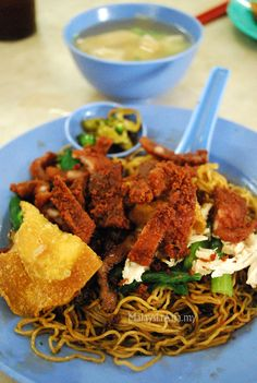 Wan Tan Mee (Noodles) from Penang Island. One of Malaysia's famous chinese noodles.