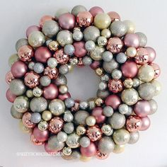 A DIY metallic bauble wreath makes a stylish Christmas decoration