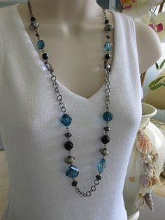 Long Necklace, Long Black and Blue Beaded Necklace, Chunky Beads, Blue, Black, Beaded Necklace, Silver Beads, Gunmetal Chain, Acrylic Beads on Etsy, $18.00