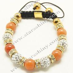 Shamballa Bracelet, 10mm round clay clear rhinestone & Yellow jade beads        Item No.:SN014743      Shop price: US$3.90 - US$4.59