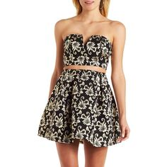 Charlotte Russe Black/Gold Metallic Brocade Crop Top by Charlotte... ($25) ❤ liked on Polyvore featuring tops, gold metallic top, zipper crop top, sexy tops, black crop top and strapless crop top