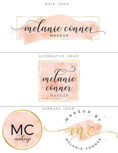 Logo and branding Watercolor logo branding package Pink