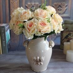 $4.99 Wedding Champagne 9 Rose Heads Bouquet Fake Peony Artificial Flower Silk Cream #Unbranded