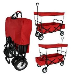 RED COLLAPSIBLE FOLDING WAGON W/ CANOPY GARDEN UTILITY SHOPPING TRAVEL OUTDOOR CART WITH HANDLE - EASY SETUP NO SCREWDRIVER AND TOOLS TO SETUP