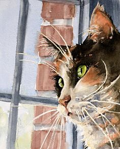 Kittens Painting - City Cat by Judith Levins