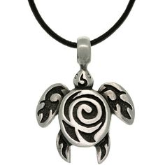 Carolina Glamour Collection Pewter Unisex Spiral Sea Turtle Black... ($15) ❤ liked on Polyvore featuring jewelry, necklaces, black, turtle pendant, pendant chain necklace, pewter pendant, long pendant and cord necklace
