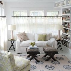 Elegant White Cafe Curtains For Living Room