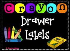 Use these labels to organize the crayons in your classroom.These labels are made to fit small 5 drawer units.