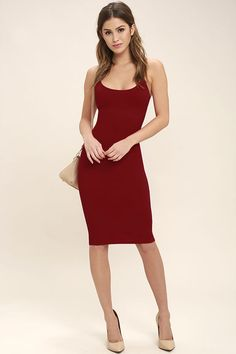 It's unbelievable how good you'll look in the Absolutely Astounding Red Bodycon Midi Dress! Skinny straps support a darted, stretch knit bodice that flaunts your figure all the way down to a midi skirt.