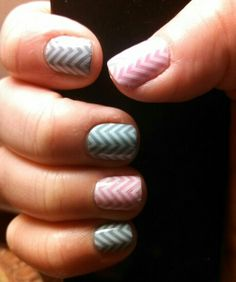 """""""White Chevron on Clear layered on Jamberry's Ash and Lilac Lacquer""""  http://lkite.jamberrynails.net"""