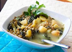 This recipe for lemon, kale, and lentil soup to make ahead of time and then freeze for reheating later when you're in the mood for soup.
