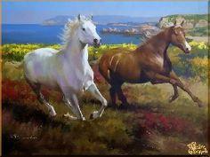 Два скакуна, картина, Модерн животный мир №86 - Модерн Животный мир <- Жанры…