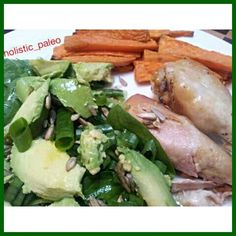 Chicken drumsticks,  salad, sweet potato chips and cold pressed oil.  #dinner #paleo #primal #lowcarb #goodfats #highfat #glutenfree #dairyfree #foodpic #eatwell #jerf #cleaneat #cavegirl #colourful #nutritious #healthy #healthyfoodshare #weightloss #fitd