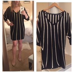 DVF Gold Striped Sweater Dress! Beautiful dress, worn once! Gold glittered stripes with a deep V-neck! Doesn't have size tag but fits a M-L Diane von Furstenberg Dresses