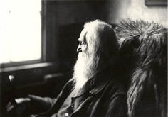 "Walt Whitman, Camden, NJ, 1891.    ""I believe in the flesh and the appetites, Seeing, hearing, feeling, are miracles, and each part and tag of me is a miracle. Divine am I inside and out, and I make holy whatever I touch or am touch'd from, The scent of these arm-pits aroma finer than prayer, This head more than churches, bibles, and all the creeds.—""Song of Myself"" 1855.  Photo, Samuel Murray"