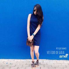 aquele vestido cheio de amor #lojaamei #vestido #azulmarinho #muitoamor #sandália #bolsa #lookazul