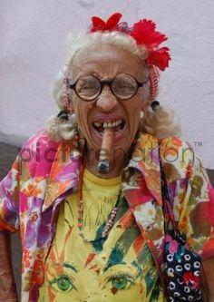 Colourful old woman in Havana, Cuba