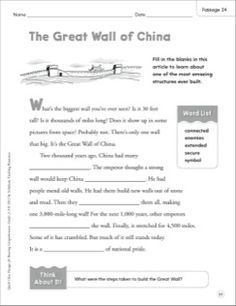 The Great Wall of China: Quick Cloze Passage (Grades 2-3)