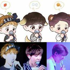 Is eating the microphones really necessary? Baekhyun Fanart, Chanyeol Baekhyun, Kpop Fanart, Exo Kokobop, Kpop Exo, Kpop Drawings, Cute Drawings, K Pop, Exo Cartoon