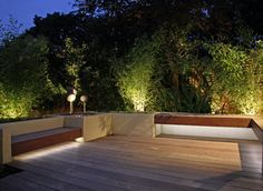 LED strip light under decking seat