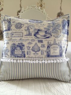 French Country Pillow Cover, Shabby Chic Pillow Cover, Paris Blue Toile Pillow Cover, Blue Ticking Pillow Sham, by ParisLaundryDesigns on Etsy https://www.etsy.com/listing/129567485/french-country-pillow-cover-shabby-chic