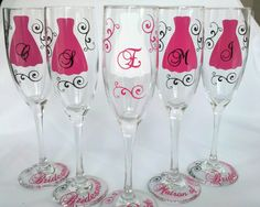7 Bridesmaids, Maid of honor gift, champagne glasses,  Personalized Burgundy and white wedding flutes, dark red. $84.00, via Etsy.
