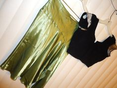 CHARLOTTE RUSSE sz M hip hugging green satin skirt with embroidered Choli top #CharlotteRusse #Asymmetrical